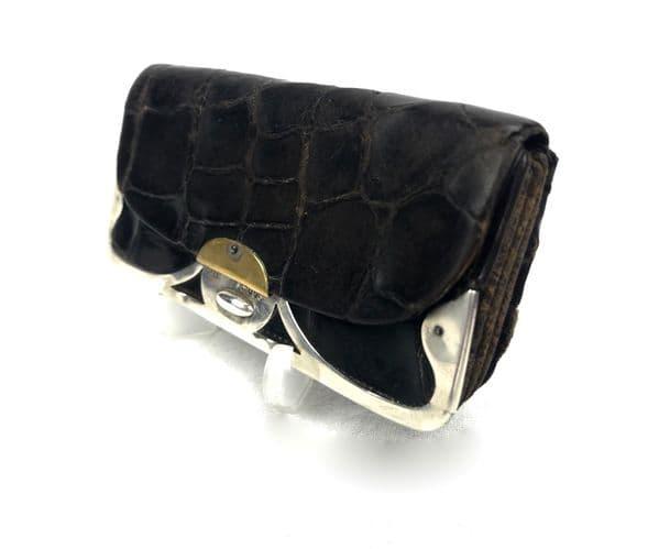 Antique Crocodile Skin Leather Purse With Silver London Hallmark 1901 / EHP